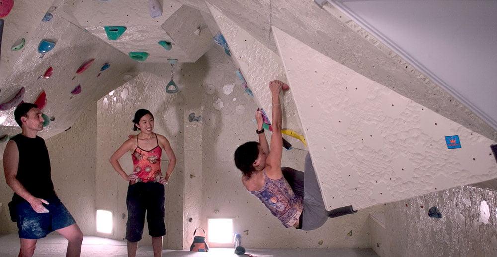 Attic installation of Boulderboard Climbing Panels, climbing walls, Fitness climbing, Training for climbing, Indoor climbing